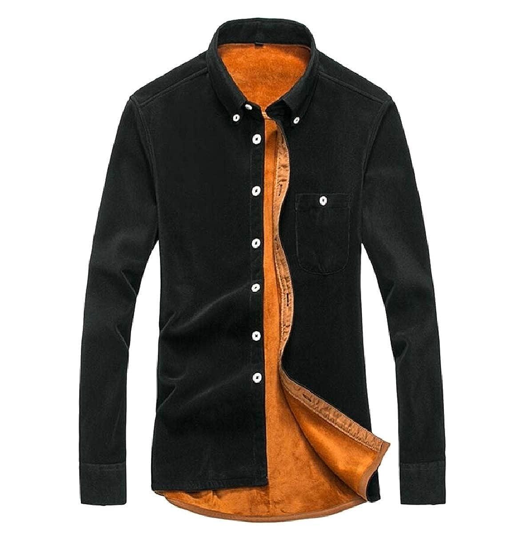 ZXFHZS Mens Fashion Solid Fleece Long Sleeve Button Down Corduroy Dress Shirts
