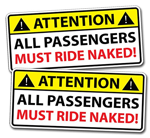 (Funny Passengers Ride Naked Sticker Warning Decal Car Truck Boat Jet)
