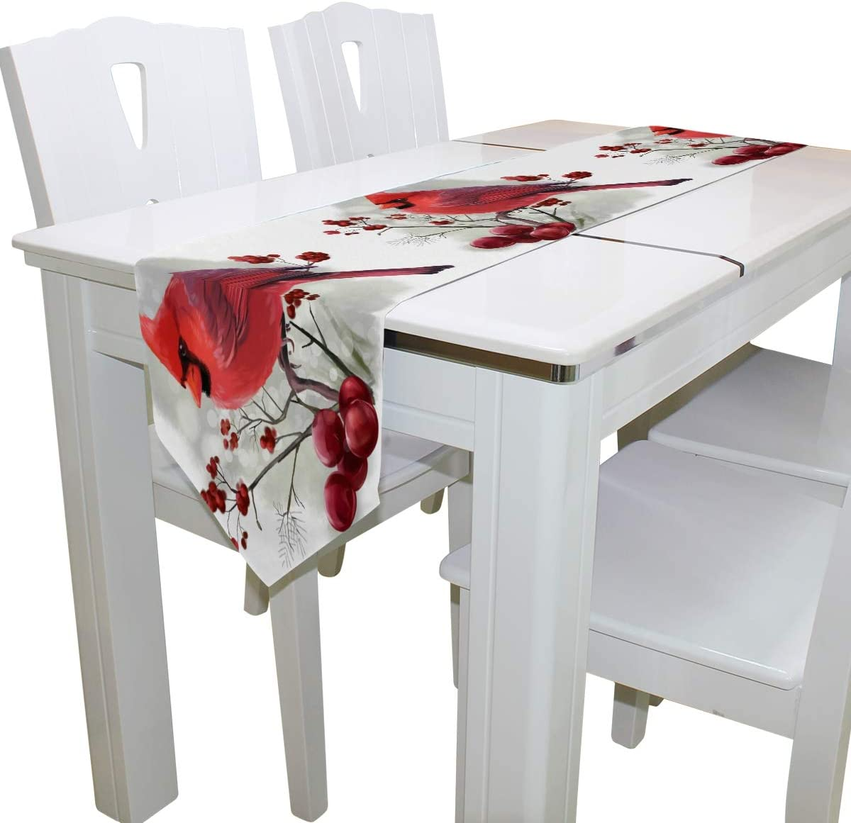 Double-Sided Panda Animal Winter Bird Cardinal Table Runner 13 x 70 Inches Long,Table Cloth Runner for Wedding Party Holiday Kitchen Dining Home Everyday Deco