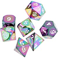 MagiDeal Pack of 7 Zinc Alloy Multi-Sided Dices for Dungeons and Dragons Role Play Game Dices White 1.6cm