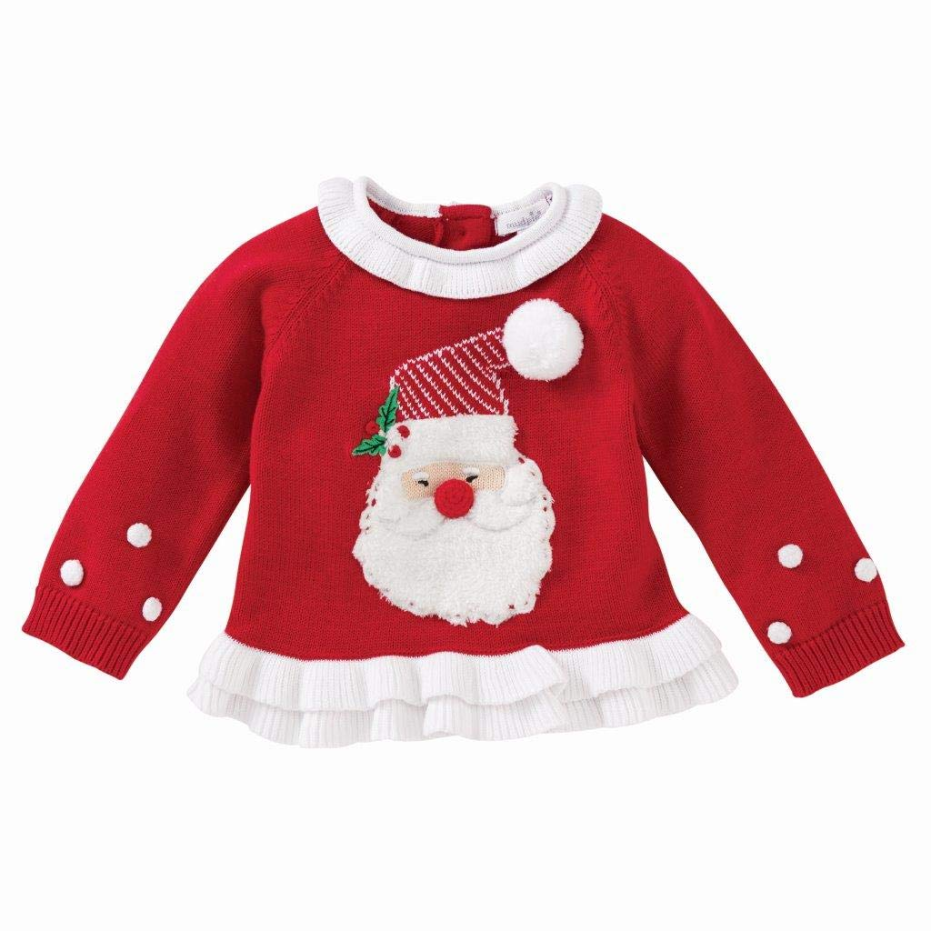 Mud Pie Baby Girl's Red Santa Christmas Ruffle Sweater (Infant/Toddler) Red MD (2T-3T Toddler) by Mud Pie