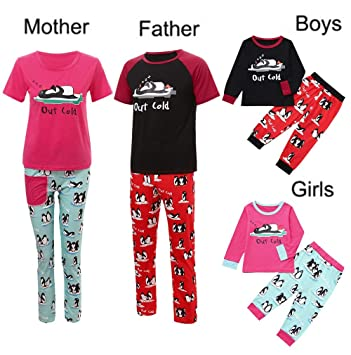 0aa8f679b Christmas Family Matching Pyjama,Christmas Letter Tops+Penguin Panst Family  Pajamas Sleepwear Set for