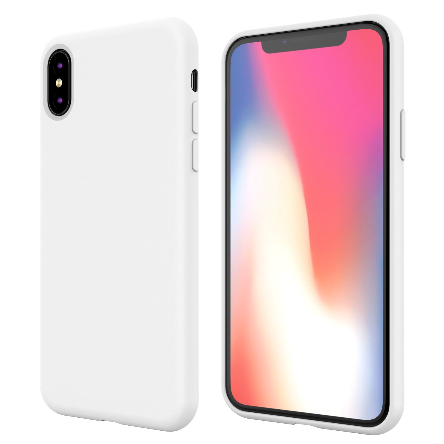 buy online 63a6f a6ab8 iPhone X Silicone Case,iPhone 10 Silicone Case,Full Body Drop Shockproof  Protection Cover Matte Case Gel Rubber Silicone Phone Case with Soft  Cushion ...