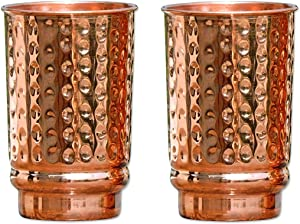 HealthGoodsIn - Hammered Pure Copper (99.74%) Tumbler Set of 2 | Traveller's Copper Mug for Serving Water | For Ayurveda Health Benefits (11.8 US Fluid Ounce)