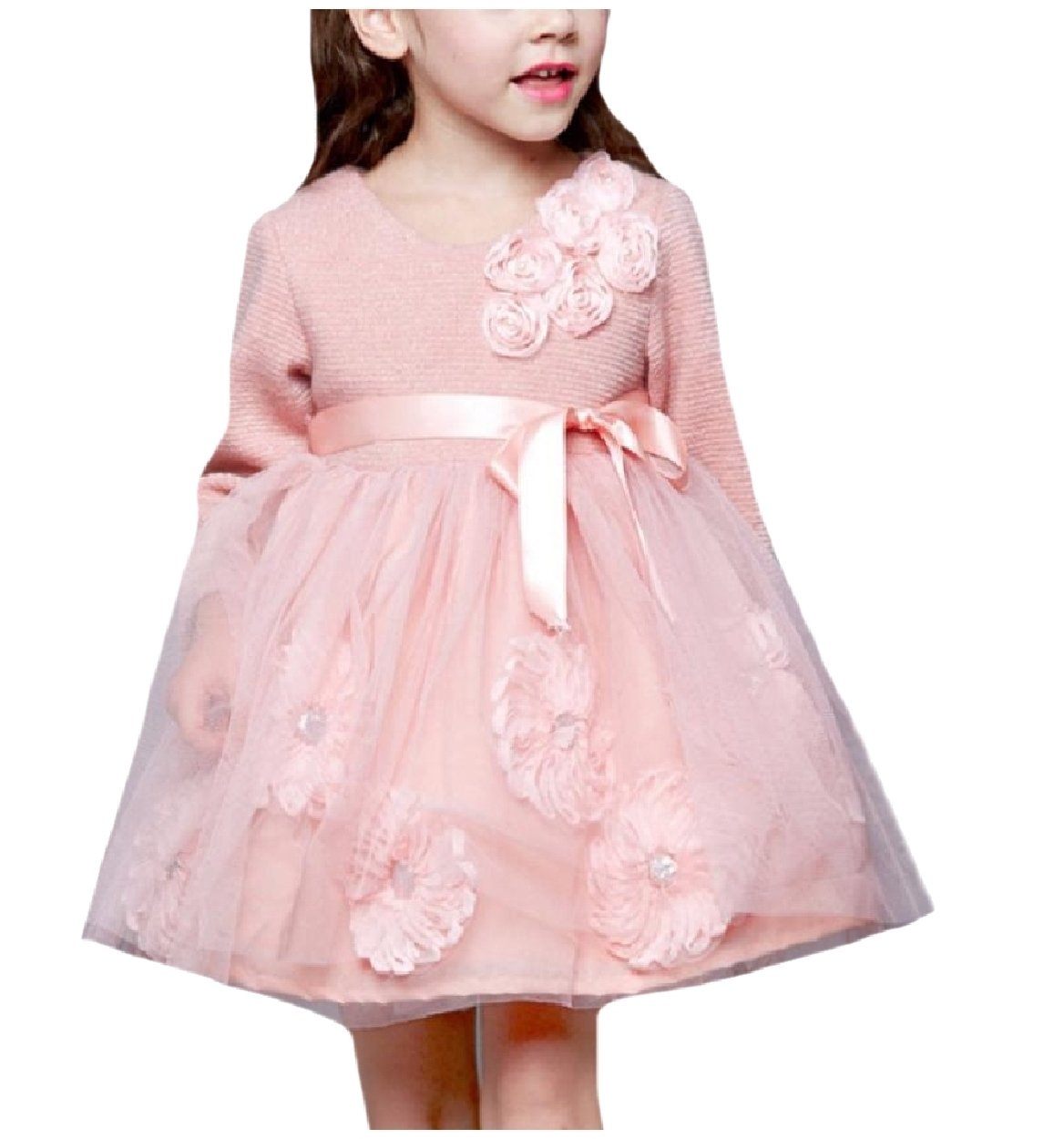 Winwinus Girls' Pure Color Fine Cotton With Mesh Overlay Party Sundress Pink 110 by Winwinus (Image #1)
