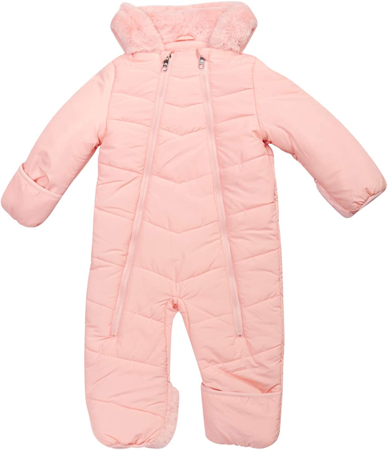 Poly Filled and Polar Fleece Lined with Sherpa Fur Hood Infant Size Steve Madden Baby Girls Snowsuit Pram