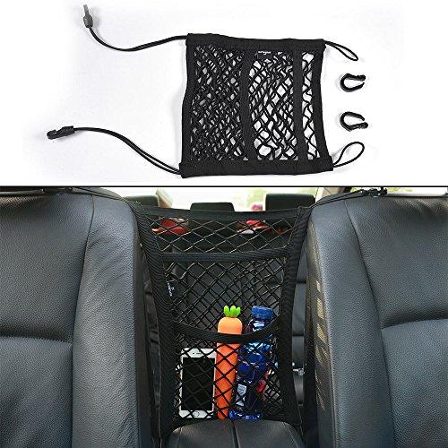 Cargo Net, 2 Pocket Seat Back Mesh Organizer Net Bag Pet Barrier for Purse Bag Phone Pets Children Kids Disturb Stopper( 9.80 X 11.80 inch (Cargo Bag Purse)