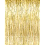 Metallic Gold Foil Fringe Curtains (1 PC) by Kangaroo; Party Supplies