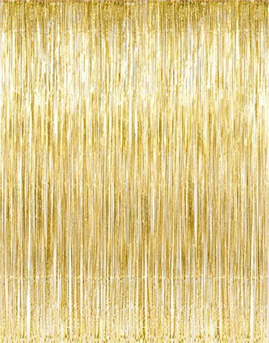 Metallic Gold Foil Fringe Curtains (1 PC) by Kangaroo; Party - Supplies Party