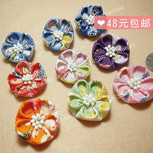 Custom home (Collection 1 large plum) color crepe 70 Japanese wind headdress fretwork trim hair clip fabric flower for women girl lady