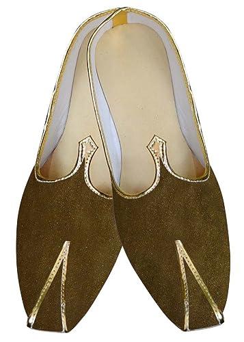 Mens Olive Drab Velvet Wedding Shoes MJ013970