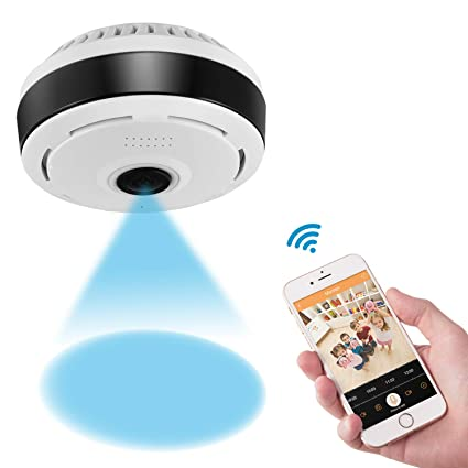 360 Degree Panoramic Camera WiFi Indoor IP Camera with Clear Night Vision 2-way Audio