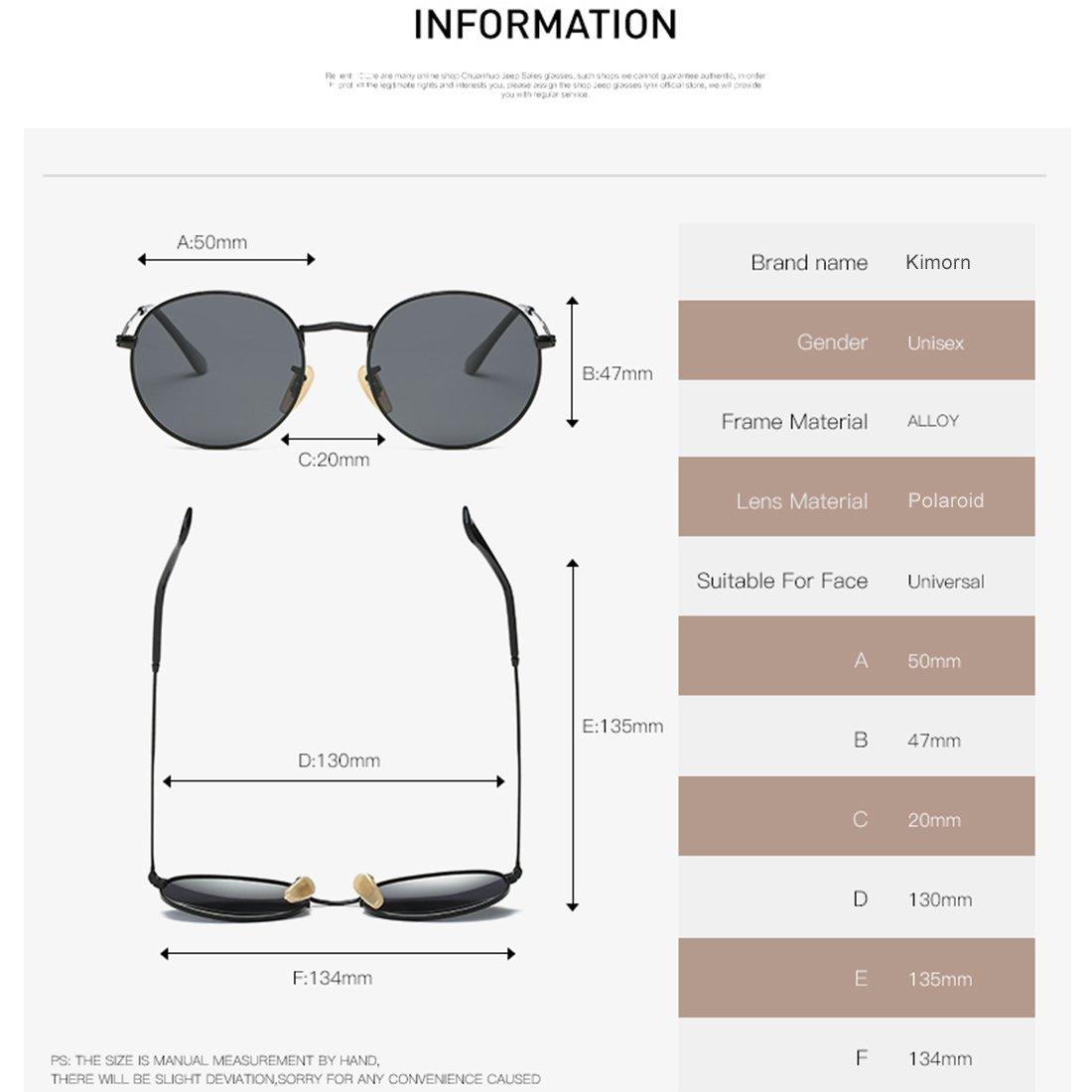 Kimorn Polarisé Lunettes De Soleil Unisexe Classique Rond Métal Cadre Des lunettes K0556 (Argent&Noir) RZVE3M