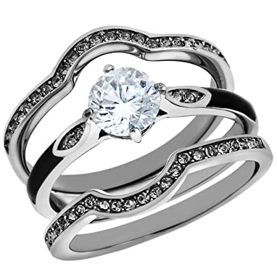 11 Ct Round Cut Zirconia 3pc Stainless Steel Wedding Ring Set Womens Size 5
