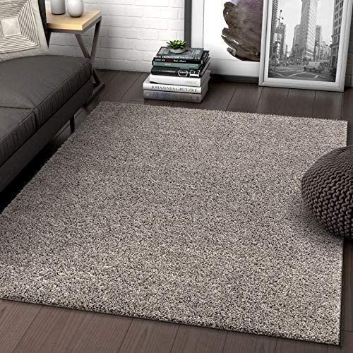 Solid Retro Modern Light Grey Shag 7×10 6 7 x 9 10 Area Rug Plain Plush Easy Care Thick Soft Plush Living Room Kids Bedroom