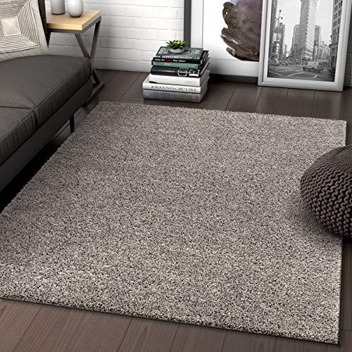 Solid Retro Modern Light Grey Shag 5x7 (5' x 7'2'') Area Rug Plain Plush Easy Care Thick Soft Plush Living Room Kids ()