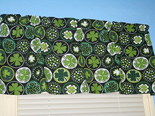 Shamrock Clover in Circle Black Green Cotton Window Curtain Valance (Shamrock Window)
