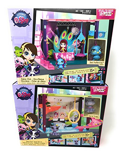 Girl Toys Bundle Toys Littlest Pet Shop Dance Club Discoteca and Littlest Pet Shop - Style your Way Playset - Pawza Pool - incl. #3835( Harriet Grand and Basil Featherstone )