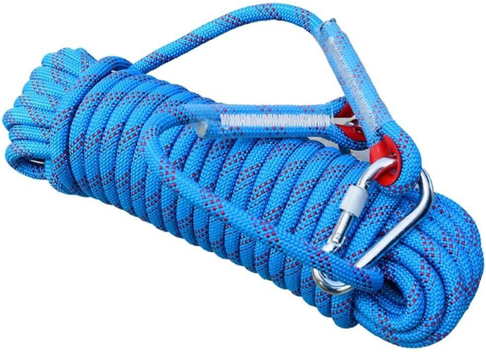 クライミングロープ、ブルー直径10ミリメートル/ 12ミリメートル/ 14ミリメートルロッククライミングロープ、10M、15M、20M、30M、屋外エスケープレスキューロープを探検、高強度ナイロンロープ安全ロープ (Color : Diameter-14mm, Size : 30 m) Diameter-14mm 30 m