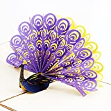 Paper Spiritz Pop up Thanksgiving Card and Envelopes 3D Peacock Wedding Invitations Card Personalised Halloween Birthday Gift Card for All Occasion ( Retro Purple, Showing Its Tail )