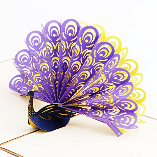 Paper Spiritz the Peacock Pop up Greeting Cards Father's Day Mother's Day 3D Birthday Post Card Thank You Mom Matching Envelope Laser Cut Handmade Gif…
