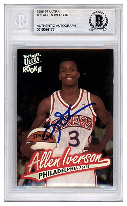 d4f13a13ae3 Allen Iverson Autographed Signed 1996-97 Fleer Ultra Rookie Card  82  Philadelphia 76ers -