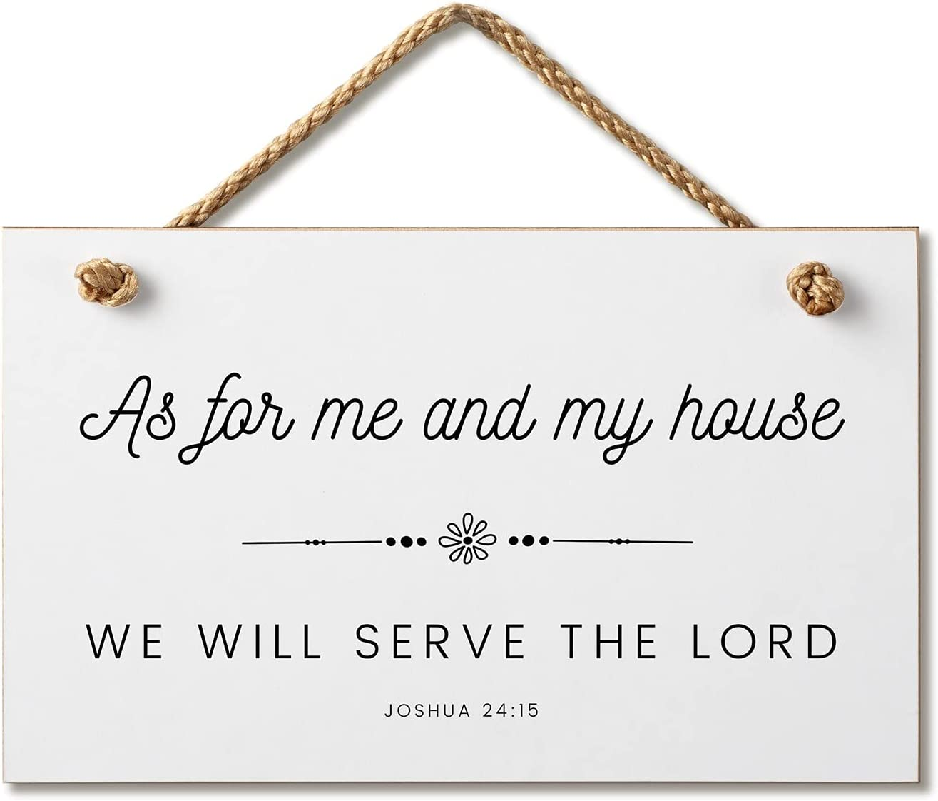 Marvin Gardens Designs Farmhouse Style Bible Verse Wall Decor Wood Sign 9.5 x 5.5 Inch Wood Made in The USA (As for Me and My House) (White), 9.5 x 5.5)…