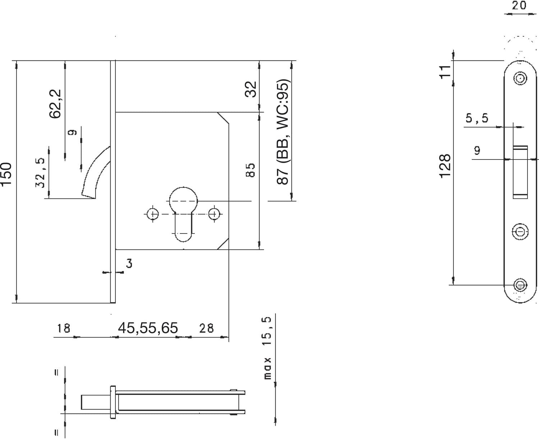 NEMEF 9751620011 Schiebet/ürschloss Dornma/ß: 65 mm BB mit Bogenriegel vernickelt inklusiv Schlie/ßblech