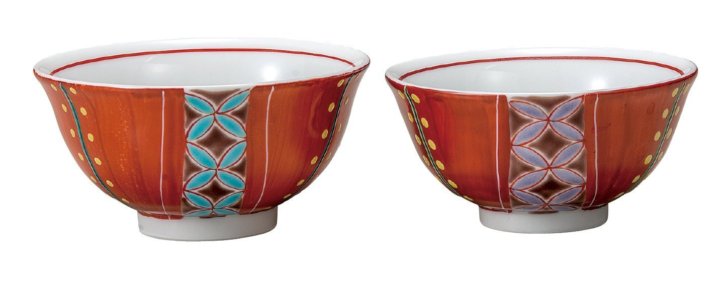 KUTANI Ware Ricebowl / Red winding Couple Set