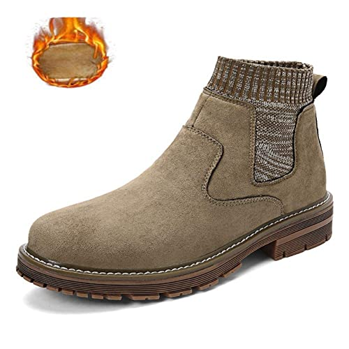 4b72ed608c50a9 JITIAN Winter Slip on Chelsea Boots Men Suede Leather Ankle Short Boots Fly  Knit Sock Winter Snow Boots Fashion Boys Outdoor Walking Shoes: Amazon.co.uk:  ...