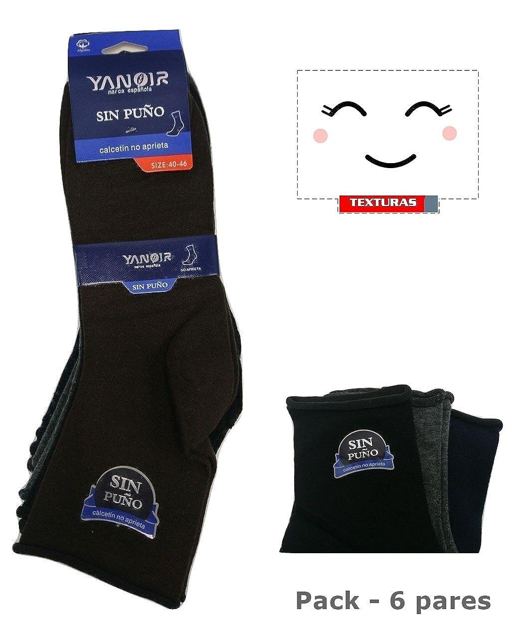 TEXTURAS HOME - Pack - 6 Calcetines Algodón YANOIR Surtidos ANTIPRESS (Sin Puño) Talla única 40-46: Amazon.es: Ropa y accesorios