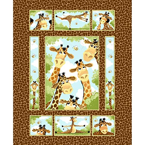 (Susybee~Zoe Giraffe Quilt Panel 35 x 44 Childrens Cotton Fabric)