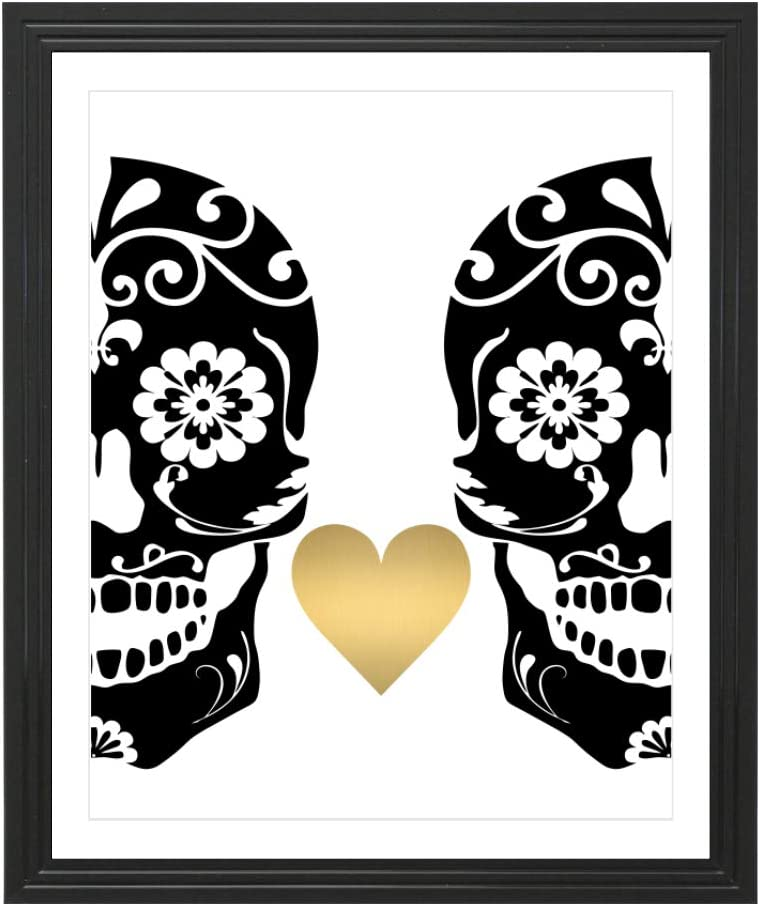 Eleville 8X10 Sugar Skulls Love Real Gold Foil Art Print (Unframed) Wall Art Home Decor Motivational Inspirational Poster Valentine's Gift Birthday Wedding WG121