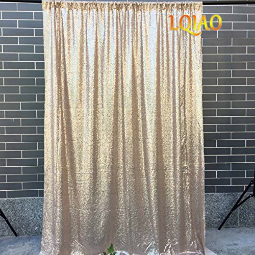 LQIAO Sequin Fabric Curtain Panels 50x63in-Champagne Shimmer Fabric Home Decoration Simple Pocket Style by LQIAO (Image #1)