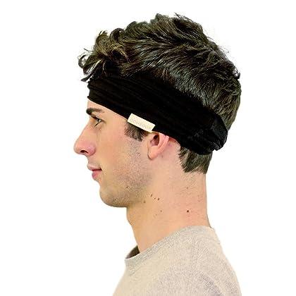 1f321dd2c4fa ... Kooshoo Black Headband For Men. Premium Sports And Chef Men s Headband  That Wicks Sweat and ...