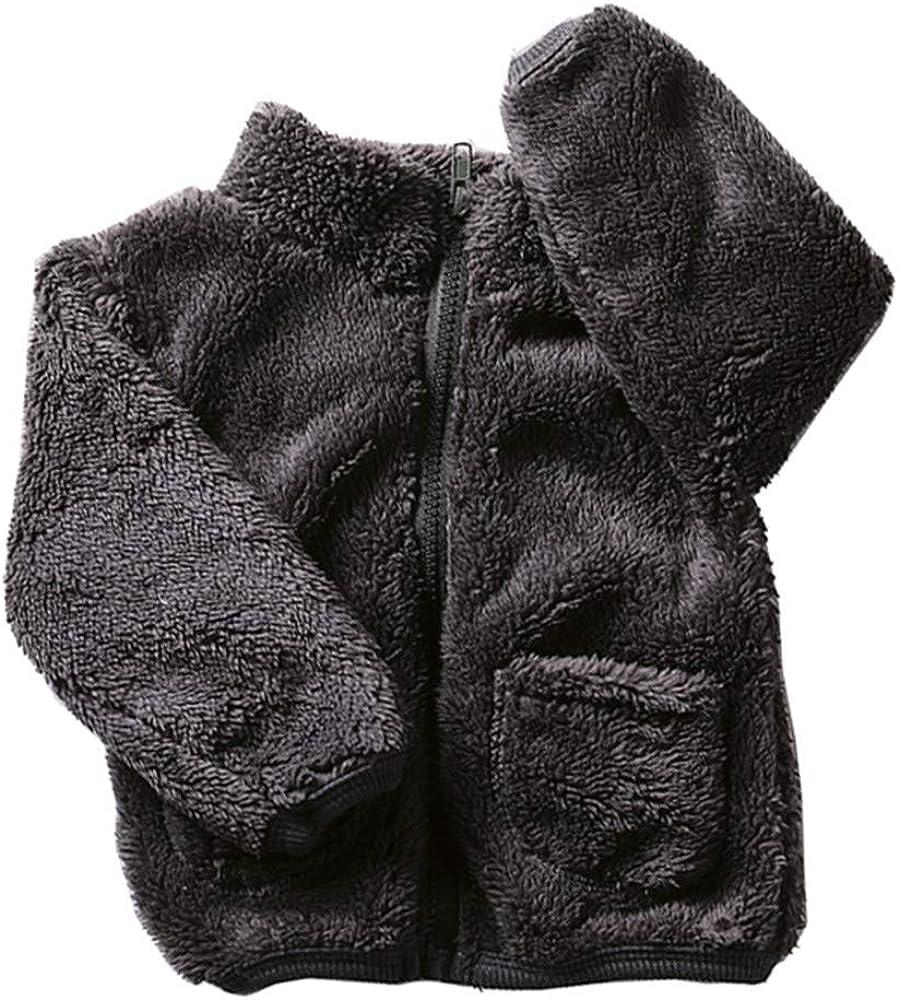 Dream/_mimi Toddler Baby Winter Solid Color Soft Plush Warm Cotton Windbreaker Jacket