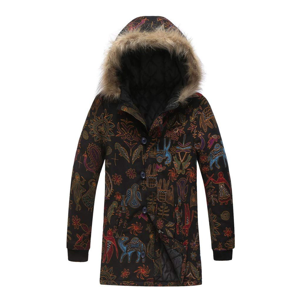 wuliLINL Mens Floral Print Hooded Warm Winter Thicken Cotton-Padded Parkas Long Oversize Coats(Black,XL) by wuliLINL