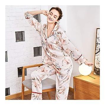 HAOLIEQUAN Set De Pijama De Dos Piezas Estampado Floral Tops De Mujer + Pantalón Largo Seda
