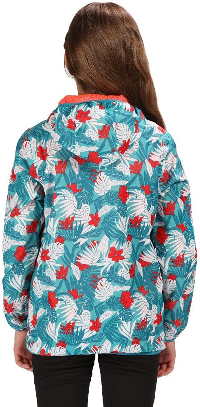 Size 7-8 Ceramic Regatta Kids Printed Lever Waterproof and Breathable Lightweight Hooded Pack Away Jacket