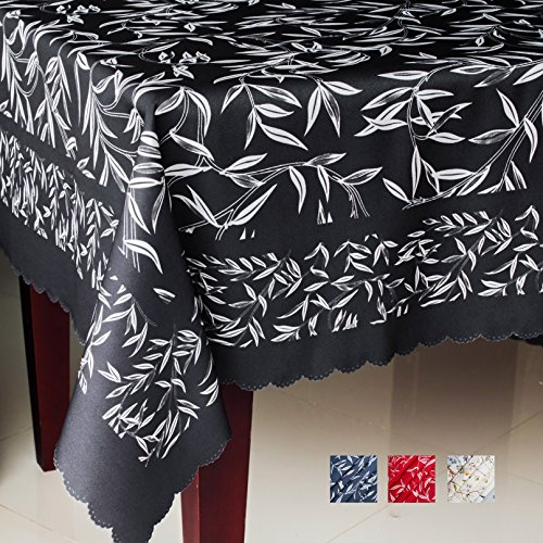 Non-iron Floral Rectangle Tablecloth - Fashionable Table Cover for Home – Square Stain Resistant Table Protection Halloween Thanksgiving Christmas Dinner New Year (BLACK leafs, Square 60