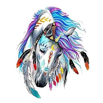 Justfox – Tatuaje temporal, unicornio, caballo, multicolor, plumas ...