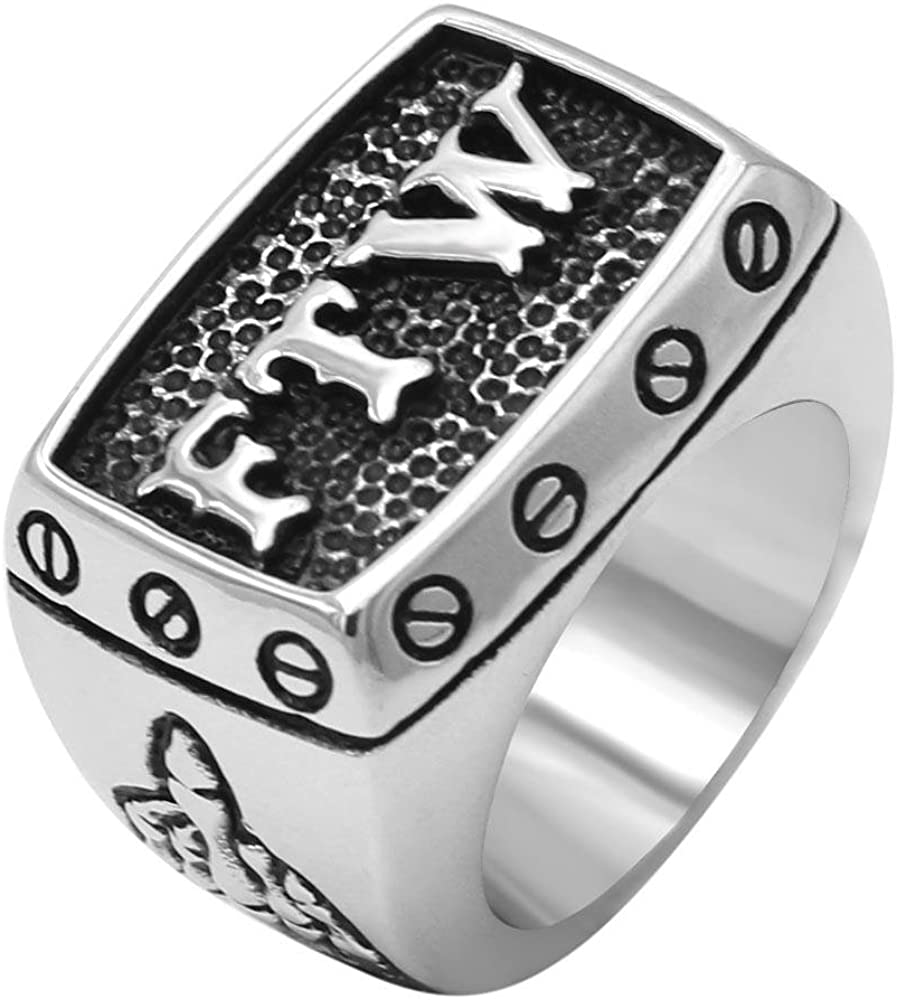 enhong 316L Stainless Steel Mens Outlaw Punk FTW Silver Biker Rings Motorcycle Jewelry US 7,8,9,10,11,12,13,14,15