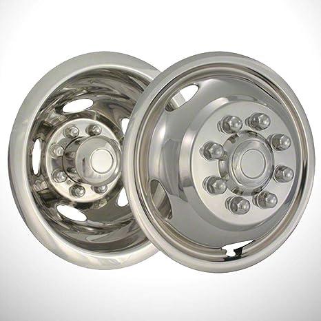 Brighter Design Set of 2 Front Chrome 5 Hand Hole 17 Wheel Simulators for 03-18 Dodge Ram 3500