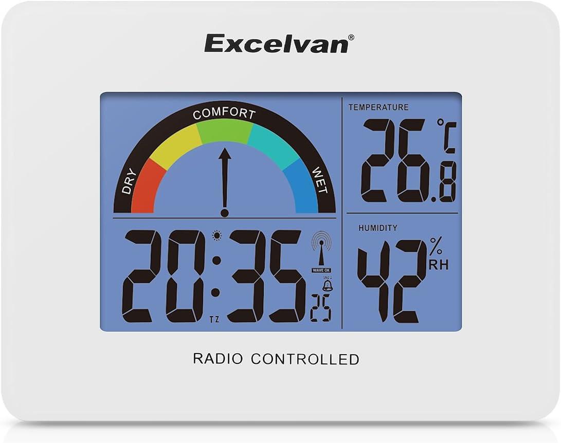 EXCELVAN Réveil Radio Piloté Digital Mural & Bureau Thermomètre & Hygromètre à Piles avec Mètre Coloré de Confort Température Humidité Calendrier