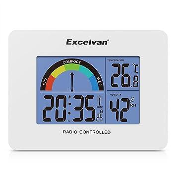 Excelvan AOK 2805A - Precisión Despertador Alarma Reloj Radio controlado Digital (Horario Ajustable Automatico, Termómetro, Calendario, Pared Montable y ...