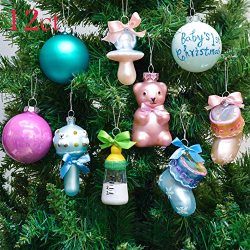 Valery Madelyn 12ct Baby's First Christmas Christmas Ball Ornaments, Funny Glass Blown Ornaments, 2.76inch-3.74inch,Themed with Tree Skirt(Not Included)
