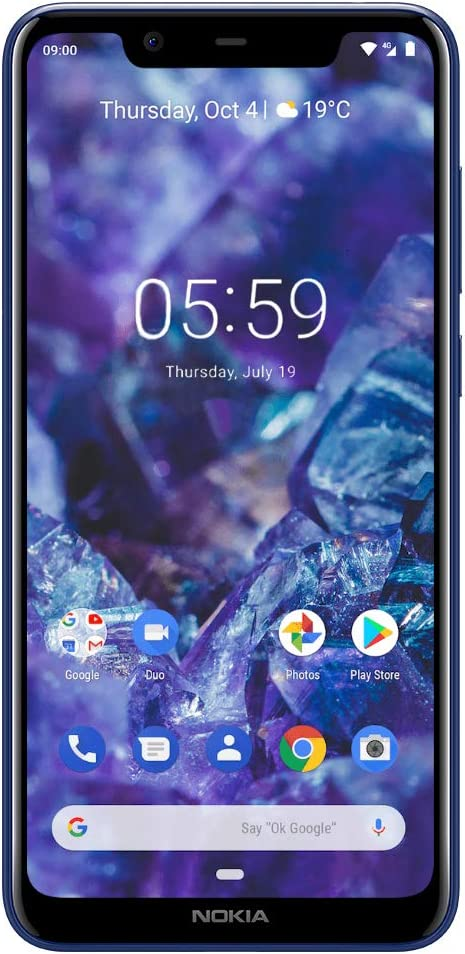 "Nokia Mobile Nokia 5.1 Plus - Android 9.0 Pie - 32 GB - Dual Camera - Dual Sim Unlocked Smartphone (AT&T/T-Mobile/Metropcs/Cricket/Mint) - 5.86"" 19: 9 HD+ Screen - Blue"