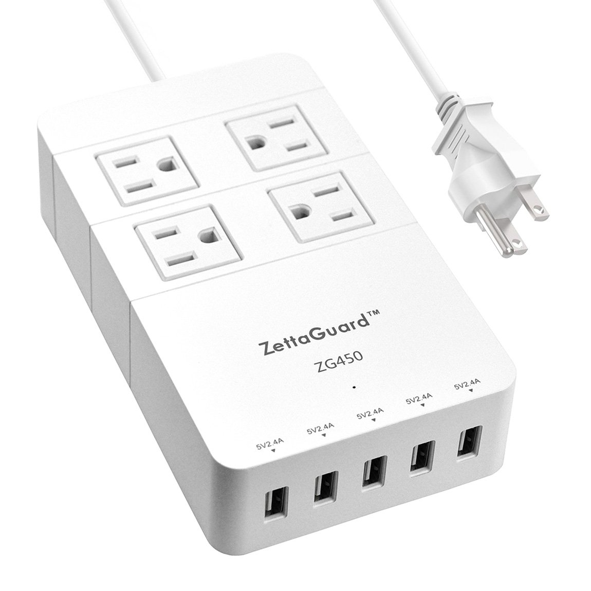 Zettaguard Mini 4-Outlet Travel Power Strip / Surge Protector with USB Charger, White (ZG450)