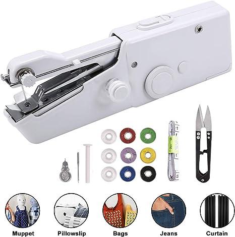 Mini Handheld Sewing Machine Portable Cordless Single Stitch Fabric Travel Home