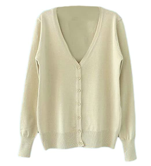 de8b7d49cb Lutratocro Womens Plus Size Knitted Button Down V-Neck Thin Sweater  Cardigans Apricot XS
